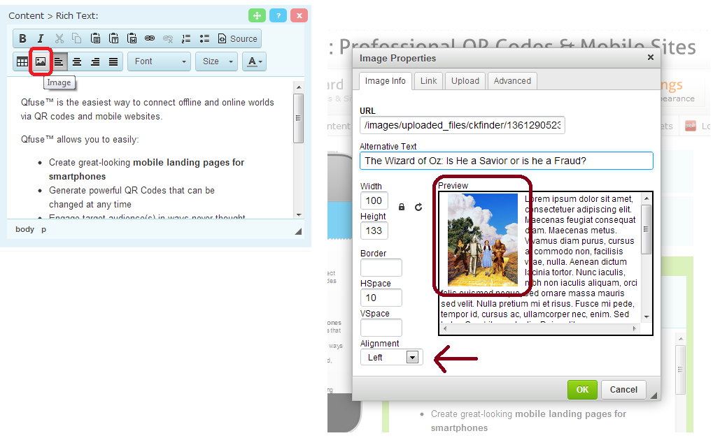 Add images directly into your content or sub menus; resize, and/or align them how you so choose.